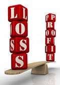 The Words Loss And Profit On The Scales. The Words Loss And Profit (made From Red Cubes With Letters poster