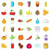 Half Vegetarian Icons Set. Cartoon Style Of 36 Half Vegetarian Icons For Web Isolated On White Backg poster