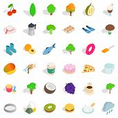 Vegetarian Dish Icons Set. Isometric Style Of 36 Vegetarian Cafe Icons For Web Isolated On White Bac poster