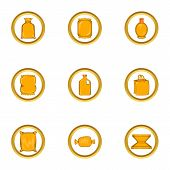 Packing Type Icon Set. Cartoon Set Of 9 Packing Type Icons For Web Isolated On White Background poster