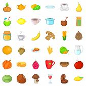 Vegetarian Cafe Icons Set. Cartoon Style Of 36 Vegetarian Cafe Ector Icons For Web Isolated On White poster