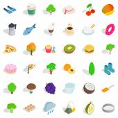 Vegetarian Cafe Icons Set. Isometric Style Of 36 Vegetarian Cafe Icons For Web Isolated On White Bac poster