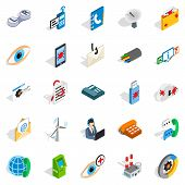 High Tech Icons Set. Isometric Set Of 25 High Tech Icons For Web Isolated On White Background poster