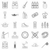 Entertainment On The Water Icons Set. Outline Set Of 25 Entertainment On The Water Icons For Web Iso poster