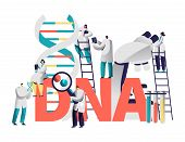 Dna Gene Medical Test Typography Banner. Scientist Team Research Genome In Chemical Laboratory. Man  poster