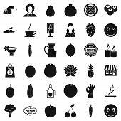Vegetarian Burger Icons Set. Simple Style Of 36 Vegetarian Burger Icons For Web Isolated On White Ba poster