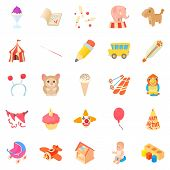 Games For Schoolchildren Icons Set. Cartoon Set Of 25 Games For Schoolchildren Icons For Web Isolate poster