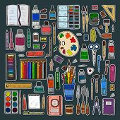 Set Of Cute Hand Drawn Stickers Of Art Tools Including Pencils; Pens; Watercolor; Eraser; Pastel; Br poster