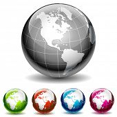 Set of colored globe icons. Vector Illustration