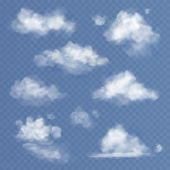 Realistic Cloud. White Clouds Fluffy Sky Fog Clouding Isolated On Transparent Blue Sky Background Se poster