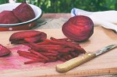 Chopped Beetroot. Beet Stick Slice On Cutting Board. Preparing For Cooking. Raw. Healthy Food. poster