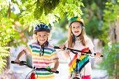 Kids On Bike. Children On Bicycle. Child Biking. poster