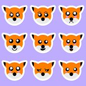 Set Of Fox Stickers. Different Emotions, Expressions. Sticker In Anime Style. Vector Illustration Fo poster