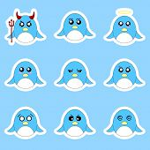 Set Of Penguin Stickers. Different Emotions, Expressions. Sticker In Anime Style. Vector Illustratio poster