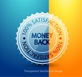 pic of plastic money  - Transparent money back guarantee badge - JPG