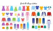 Baby Clothes. Vector. Kid Models. Children Clothing Set. Girl, Boy Cloth. Child Garment. Apparel Iso poster