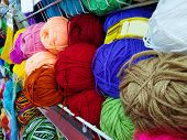 Colored Balls Of Yarn. Side View. Rainbow Colors. All Colors. Yarn For Knitting. Skeins Of Yarn. Kni poster