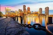 Boston Harbor With Cityscape And Skyline On Sunset, Massachusetts, Boston City, Usa poster