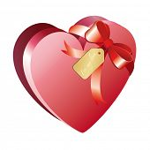 stock photo of valentine candy  - Heart shaped chocolate box with ribbon - JPG