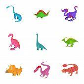 Different Type Of Dinosaur Icons Set. Cartoon Set Of 9 Different Type Of Dinosaur Icons For Web Isol poster