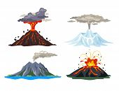 Volcano Eruption Set With Magma, Smoke, Ashes Isolated On White Background. Volcanic Activity Hot La poster