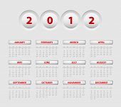 Vector button calendar for the new year 2012