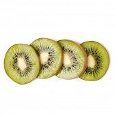 kiwi fruit slices isolated on white background closeup. Kiwifruit slices flatlay. Flat lay, top view poster