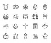 Easter Flat Line Icons Set. Colored Eggs, Basket, Egg Hunt, Rabbit, Spring Flowers, Bible, Cake Vect poster