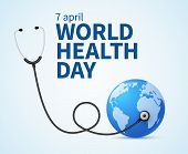 Health Day. Wellness, Health Protection And Global Medicine Healthcare Vector Poster. Illustration O poster
