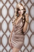 picture of irresistible  - very beautiful and irresistible young blond woman in elegant silk dress and with old fashion hair style - JPG