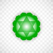 Heart Chakra Anahata In Green Color Isolated On Transparent Background. Isoteric Flat Icon. Geometri poster