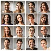 stock photo of ugly  - Composition of smiling people - JPG
