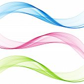 Set Of Abstract Color Wave. Color Smoke Wave. Transparent Color Wave. Blue, Pink, Red Color. Wavy De poster