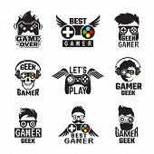 Video Game Badges. Joystick Console Controller For Gaming Geek Vector Labels. Joystick For Video Gam poster