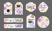 Spring Holiday Tags Set With Abstract Flower Background. Vector Design Sale, Price Offer Elements On poster