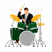 Man Play On Drum, Musician And Instrument, Drummer Guy Beat Rhythm, Vector Illustration poster