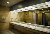 foto of gents  - Public empty restroom with washstands - JPG