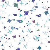 stock photo of plankton  - plankton seamless pattern vector on white background - JPG
