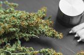 Macro Of Cannabis Weed Marijuana Bud Weed Hemp poster