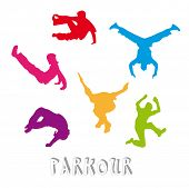 stock photo of parkour  - Set of 6 parkour silhouettes  - JPG