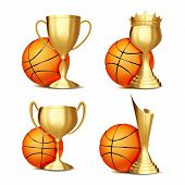 Basketball Game Award Set Vector. Basketball Ball, Golden Cup. Modern Basketball Tournament. Design  poster