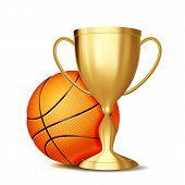 Basketball Award Vector. Basketball Ball, Golden Cup. For Sport Promotion. Tournament, Championship  poster