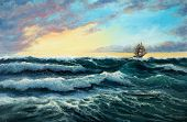 Original Oil Painting Showing  Ship   In  Stormy Ocean Or Sea On Canvas. Modern Impressionism, Moder poster