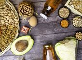 Food Is Source Of Vitamin E. Various Natural Food Rich In Vitamins. Useful Food For Health And Balan poster