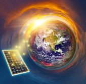 Solar Panel Concept. View Of Earth And Sunlight On Solar Panel. poster