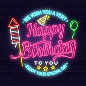 We Wish You A Very Happy Birthday Neon Sign. Stamp, Badge, Sticker, Card With Air Balloon, Firework  poster