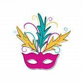 Hand Drawn Carnival Mask. Happy Carnival Festive Concept. Illustrations Of Venetian Painted Carnival poster
