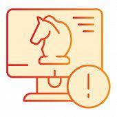 Trojan Virus Flat Icon. Horse On Desktop Orange Icons In Trendy Flat Style. Computer Virus Gradient  poster