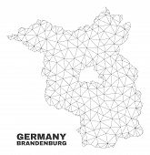 Abstract Brandenburg Land Map Isolated On A White Background. Triangular Mesh Model In Black Color O poster