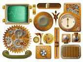 stock photo of mad scientist  - Industrial Victorian style grunge Steampunk design element switches dials etc - JPG